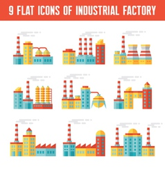Industrial factory buildings flat icons vector