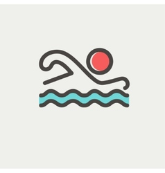 Swimmer thin line icon vector