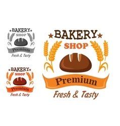 Premium bakery shop badge design vector