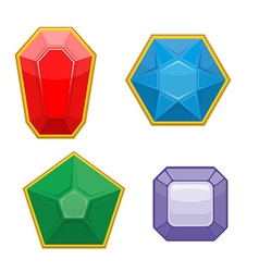 Set of precious stones emerald and ruby sapphire vector