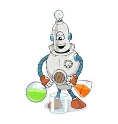 Cartoon robot science experiment vector