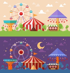 Flat retro funfair scenery vector