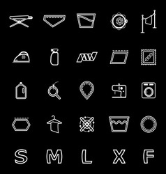 Cloth care sign and symbol line icons on black vector
