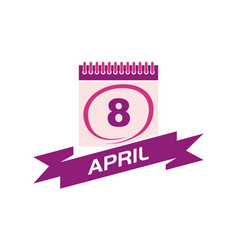 8 april calendar with ribbon vector image