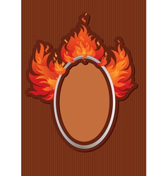 Oval frame with spurts of flame on stripe dark bac vector