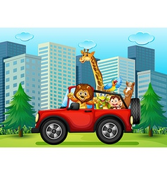 A jeepney with animals vector image