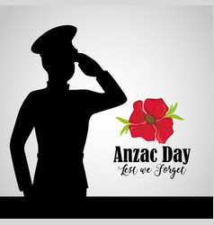 Army soldier to anzac day memory vector