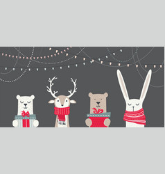Banner with cute winter animals with presents and vector