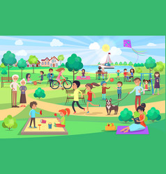 big green park with people of all ages on nice day vector image vector image