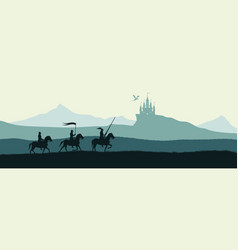 black silhouette of knights on background vector image