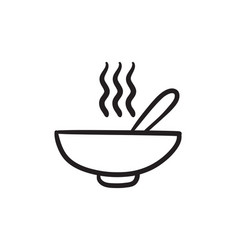 bowl of hot soup with spoon sketch icon vector image