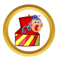 Box jumping with toy icon cartoon style vector
