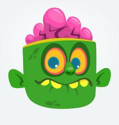 cartoon cute happy zombie head vector image vector image