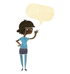 Cartoon friendly girl waving with speech bubble vector