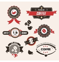 Coffee labels and badges vintage set retro style vector