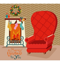 Color retro room with fireplace and big soft chair vector