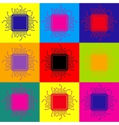 Cpu microprocessor pop-art style icons set vector