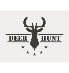 Deer hunt hunting club logo in vintage style vector