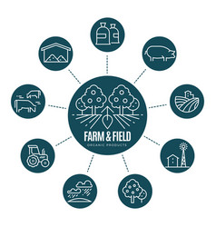 farm thin line icons and logo vector image vector image