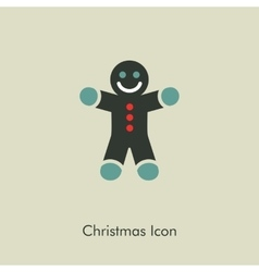Gingerbread man Christmas icon vector image