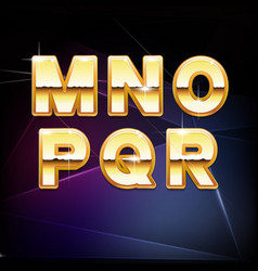 Golden Shiny Alphabet form M to R vector image vector image