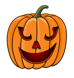 Halloween pumpkin funny face hand drawn colored vector