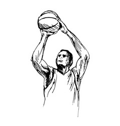 hand sketch man playing basketball vector image vector image