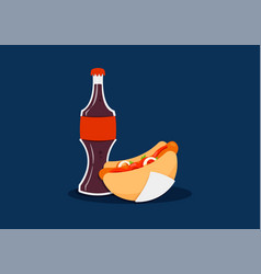 hot dog with coke vector image