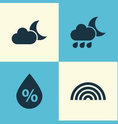Nature icons set collection of nightly moonlight vector