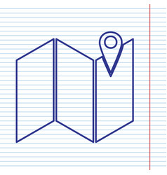 Pin on the map navy line icon on notebook vector