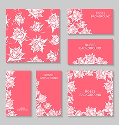 rose flower pink set vector image