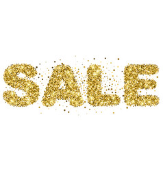 Sale lettering from gold glitter vector
