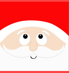 Santa claus head face looking up red hat beard vector