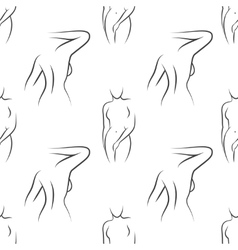Seamless pattern with nude woman silhouettes vector