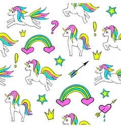 Seamless pattern with unicorns rainbow heart vector image