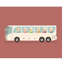 Seniors Travel by Bus vector image vector image