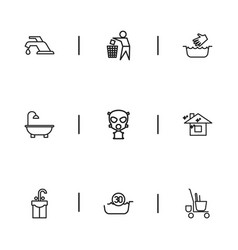 Set of 9 editable cleaning icons includes symbols vector