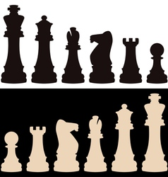 set of chess pieces vector image