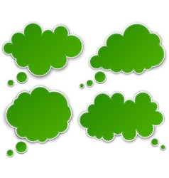 Set of paper green clouds vector