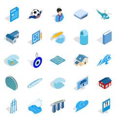 Singapore icons set isometric style vector