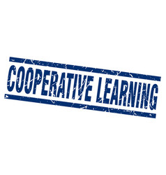 Square grunge blue cooperative learning stamp vector