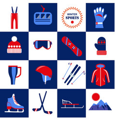 winter sport equipment and clothes isolated vector image