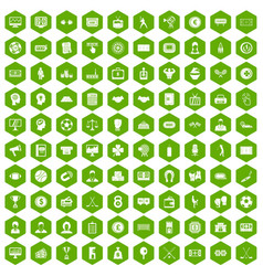 100 totalizator icons hexagon green vector