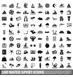 100 water sport icons set simple style vector