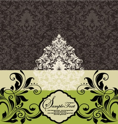 Wedding card on damask background vector
