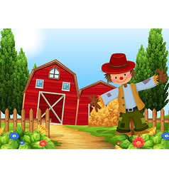 Scene with scarecrow and barns vector image