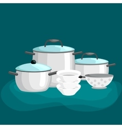 Domestic cooking tools and equipment pans pots vector