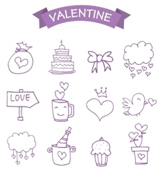 Vetcor of valentine icons vector