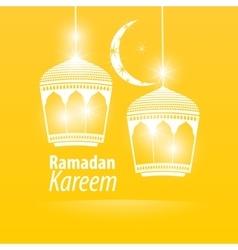 Yellow flat simple Ramadan kareem vector image