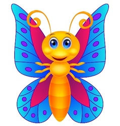Funny butterfly cartoon vector